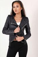 New Womens Ladies Textured Biker Jacket UK Size 8-14