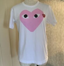 Comme Des Garcons Play Heart tshirt Unisex White Pink Red