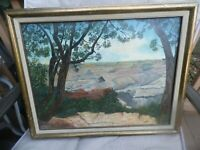 """Vintage Original Grand Canyon Painting by Goldie Oil on canvas 14"""" x 18"""""""