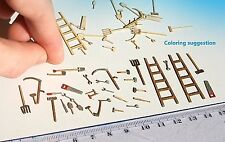 Miniature Tools set wooden ladder shovel hammer etc HO OO TT scale model railway