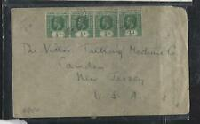 GILBERT & ELLIS ISLANDS COVER (P0212B) KGV 1/2D STRIP OF 4 COVER TO USA