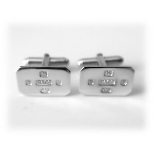 Feature Hallmarked Solid 925 Sterling SIlver Rectangle Cufflinks Cuff Links
