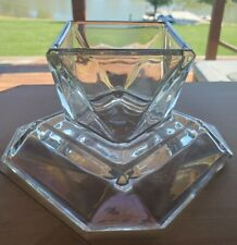 Partylite Unique Octagon Heavy Crystal Irredescent Glass Square Candle Holder