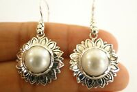 White Mabe Pearl Flower 925 Sterling Silver Dangle Earrings