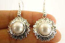 White Mabe Pearl Flower 925 Sterling Silver Dangle Earrings