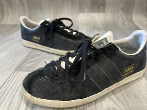 Adidas OG Gazelle Cracked Leather Trainers Womens Bkack Uk5/38 Casual