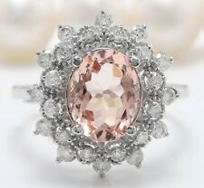 6.45 Carat Natural Peach Morganite & Diamonds in 14K White Gold Women Ring