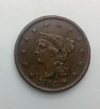 1843 Small Letters  Large Cent  Pleasing  Coin Strong Devices Nice Even Brown