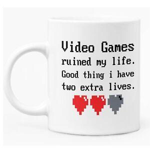 """Funny Gamer Mug 11oz White Ceramic Coffee / Tea Mug Gift  """"Extra Lives"""""""