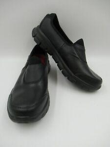 Skechers Slip Resistant Leather Slip On Black Shoes Size UK 7 [701]