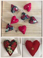 Handmade Christmas Xmas Festive Decoration Shabby Chic Heart Garland Bunting