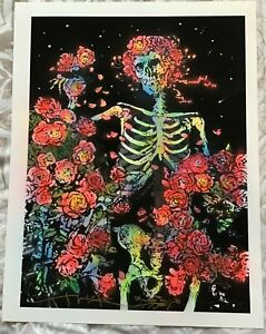 SIGNED By STANLEY MOUSE 'MIDNIGHT ROSES' AIRBRUSH BLACK LIGHT PRINT W/COA  17x22