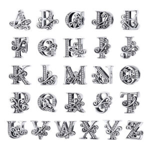 VOROCO Vintage Sterling Silver Note Alphabet Charms Fit European Charm Bracelet