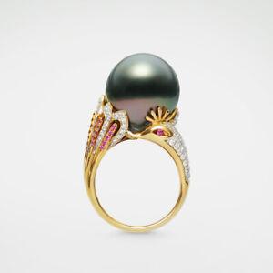 AAA Big 14.8mm Black Green Real Tahitian Pearl Diamond Ring 18k Yellow Gold&Ruby