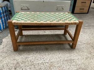 Vintage Green & Beige Check Pattern Woven Footstool Solid Wooden Frame