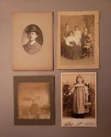 4 Antique Family Portraits Man Child Family Cabinet Card Photographs TRENTON NJ