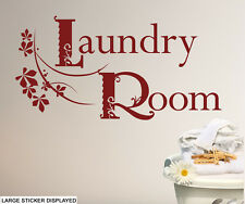 Laundry Room Design Wall Stickers Utility Washing Floral Transfers Murals Decals