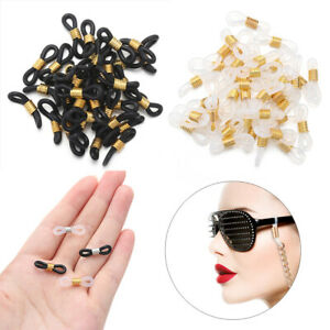 50 Anti-Slip Silicone Connector Ends Eyeglass Glasses Holder Retainer Chain Cord