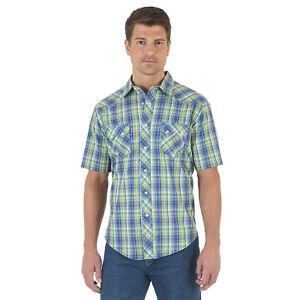 Wrangler® Blue/Green Plaid Short Sleeve Snap Shirt MV3036M