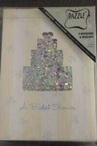 RAZZLE DAZZLES A Bridal Shower Invitations 8 Cards & Envelopes Wed Cake Sparkles