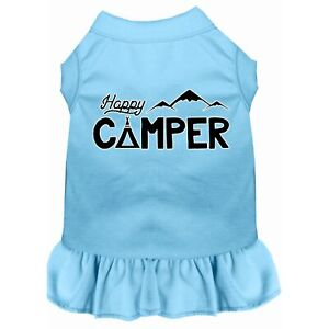 Happy Camper Screen Print Dog Dress Baby Blue