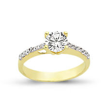 9CT GOLD LADIES CZ SOLITAIRE ENGAGEMENT RING CUBIC ZIRCONIA WEDDING BAND BOX