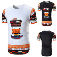 Men Slim Casual African Print O-Neck Short Sleeve Tee T-shirt Casual Tops Blouse