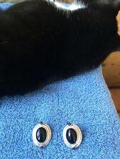 Vintage Tulla Booth Sterling Black Onyx and Amethyst Earrings