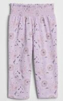 NEW BABY GAP TODDLER GIRL FLORAL PANTS SIZE 4T PURPLE SMOCKED WAIST JOGGERS