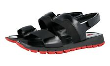 AUTH LUXURY PRADA SANDALS SHOES 4X2889 BLACK + RED NEW US 7 EU 40 40,5
