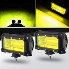 2PCS 5 Inch 72W Yellow LED Work Light Car Flood Bar Offroad Fog Lamp 4WD SUV 4X4