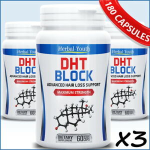 180 DHT BLOCKER MENS HERBAL ANTI HAIR LOSS SUPPORT GROWTH PILLS THICKER STRONGER