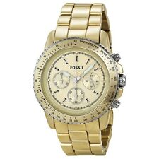 FOSSIL STELLA CH 2708 CHAMPAGNE ALUMINUM BAND & FACE FOSSIL CH-2708 3 EYE CHRONO
