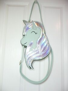 BANNDED DANCING DAYS SAGE GREEN IRIDESCENT SILVER UNICORN PURSE WITH TWO STRAPS