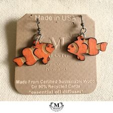 """Clown Fish"" Totem Tattoo Wood Diffuser Earrings (USA)~by Miasto (Light Weight)"