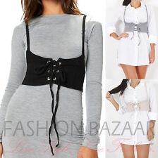 Womens Italian Style Lace Up Eyelet Cotton Denim Strap Harness Corset Belt Cheap