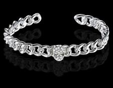 JB12 Skull Head Adjustable Open Cuff Silver Plated Alloy Punk Rock Gothic Bangle