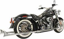 Bassani Chrome 39 Fishtail Cholo True Dual Headers Mufflers Pipes Harley Softail