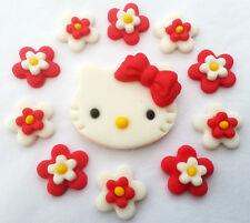 Hello kitty set 1 plaque & 10 Fleurs Comestibles Sucre Cupcake topper décorations