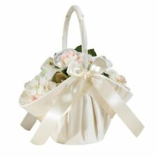 LILIAN ROSE*LARGE IVORY SATIN FLOWER GIRL BASKET BRAND NEW