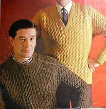 "1592 Mans DK 36-42"" Raglan Cable Sweater Jumper with 2x Necks Knitting Pattern"