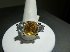 Citrine Cubic Zirconia Rhodium Plated Ring Size 8