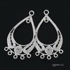 2 Sterling Silver Pear Earring Chandelier Connector 15x26mm #51424
