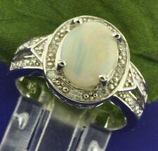 1.80ct 14k Solid White gold Ladies Diamond Australian Opal Ring 5.1Gram Cocktail