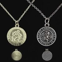 """16"""" to 24"""" Silver Plated St Saint Christopher Pendant Necklace Chain (2 Styles)"""