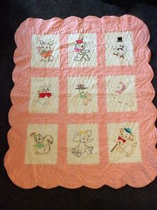 Vintage Pink & White Embroidered Animal Baby CRIB QUILT, very well made!