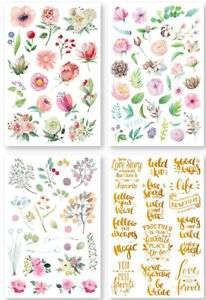 4sheets Flower Letter Transfer Scraping Paper Rub On For Scrapbooking Decor DIY