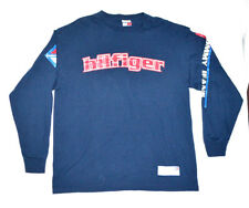 e7a1cef91 VTG Tommy Hilfiger Jeans Long Sleeve Spellout Graphic Shirt Navy Blue Mens L  90s
