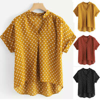 Fashion Women V-Neck Short Sleeve Polka Dot Print Casual Top Blouse T-shirt