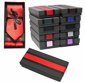 Gift Box Polyester Neck Tie Cufflink & Handkerchief Set Plain Mid Red Plain Set